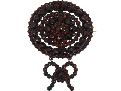 19th Century Bohemian Garnet Bow Brooch