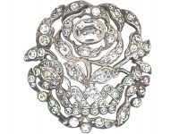 Edwardian Silver & Paste Rose Brooch