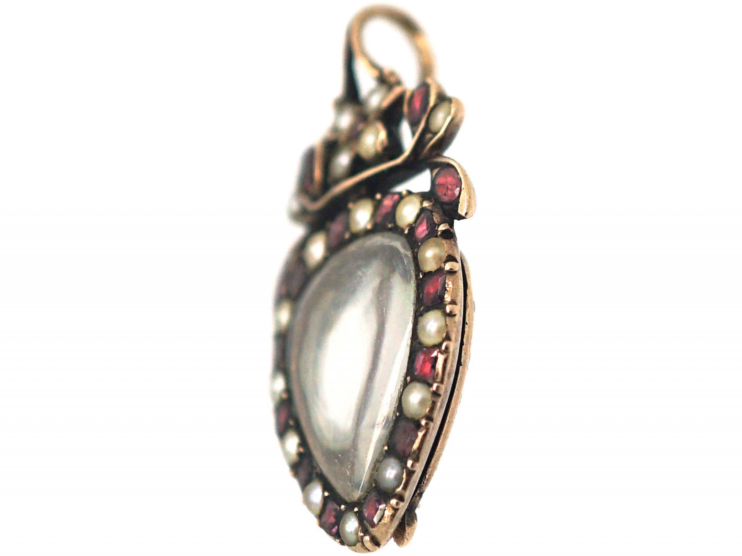 Georgian Heart Shaped Pendant set with Garnets & Natural Split Pearls with Hinged Locket on the Reverse