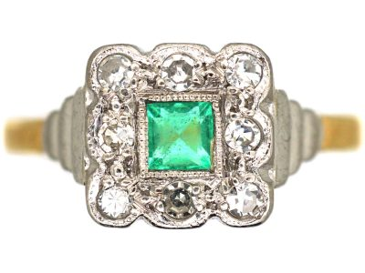 Art Deco 18ct & Platinum, Emerald & Diamond Square Shaped Ring