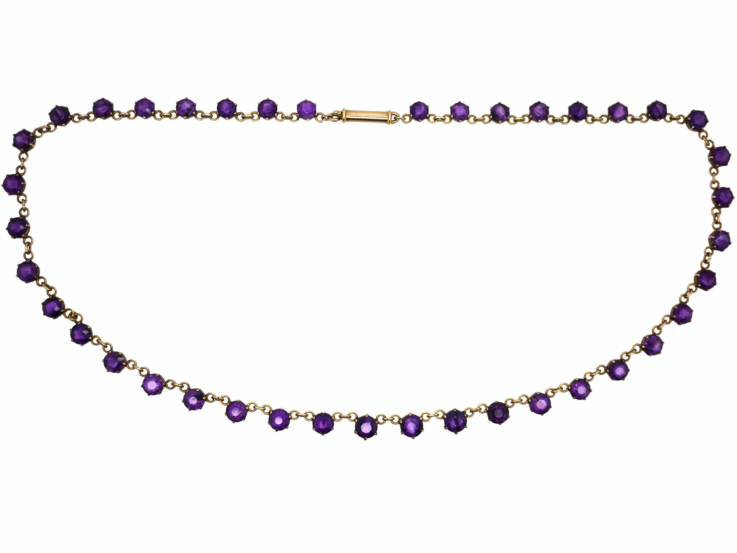 Edwardian 9ct Gold & Amethyst Necklace