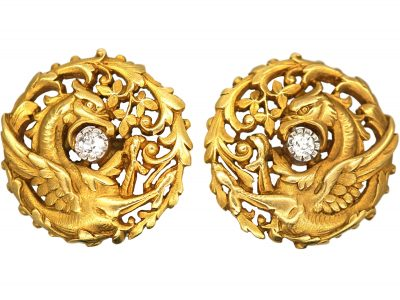 French Art Nouveau 18ct Gold & Diamond Griffin Cufflinks