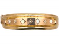 Victorian 9ct Gold Bangle set with Opals & Diamonds
