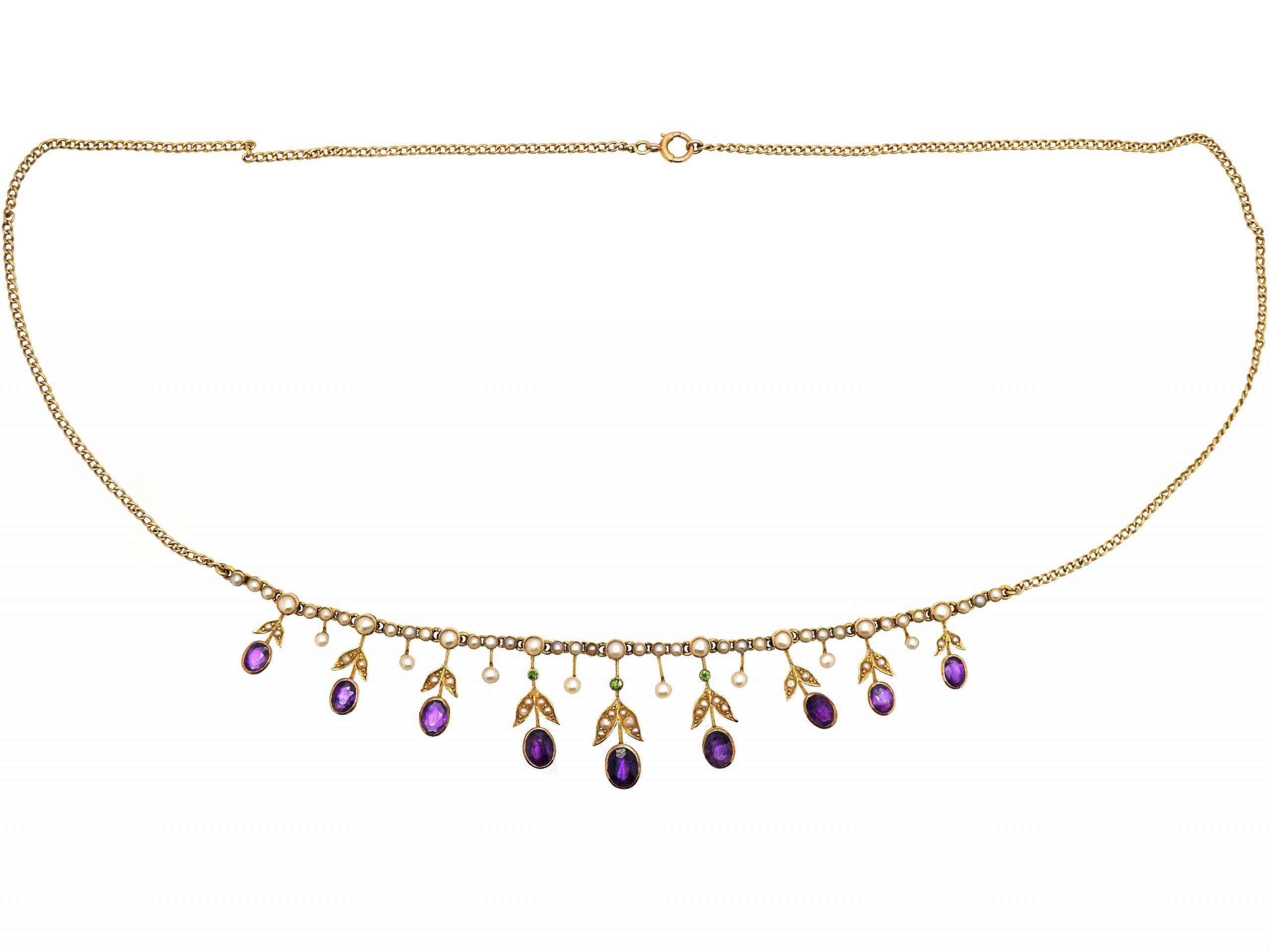 Edwardian 15ct Gold Suffragette Necklace