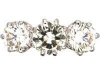 Art Deco 18ct White Gold & Platinum, Large Three Stone Diamond Ring