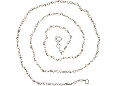 Edwardian Platinum & Natural Pearls Chain