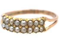 Regency 9ct Gold & Natural Split Pearl Two Row Ring