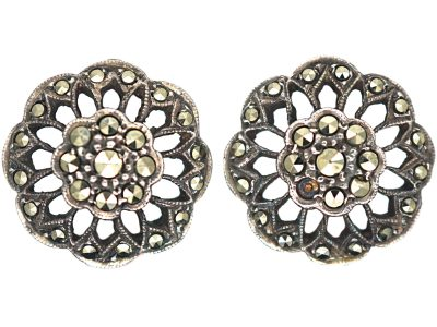 Silver & Marcasite Clip On Earrings