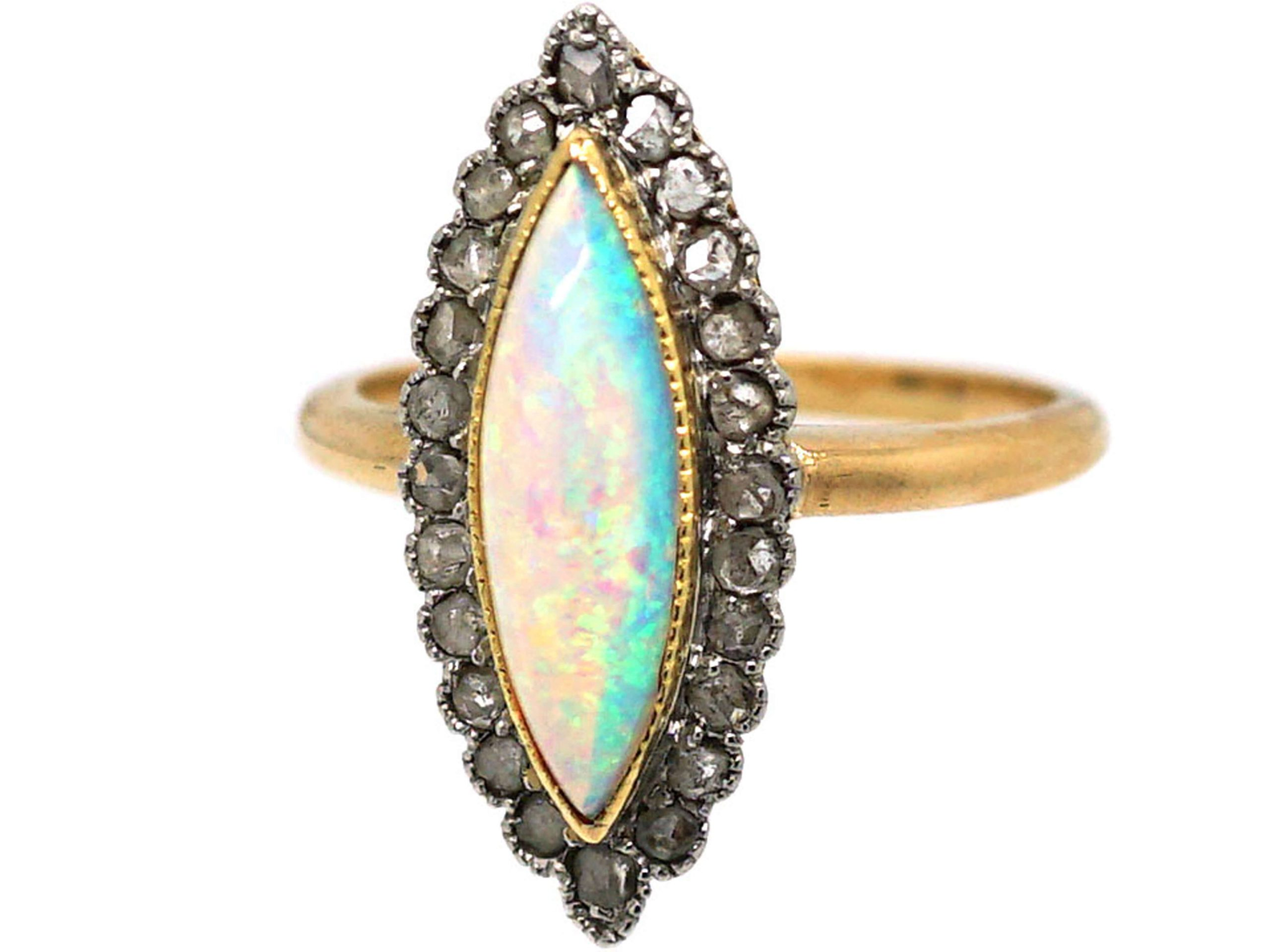 French 18ct Gold Belle Epoque Opal & Rose Diamond Marquise Ring