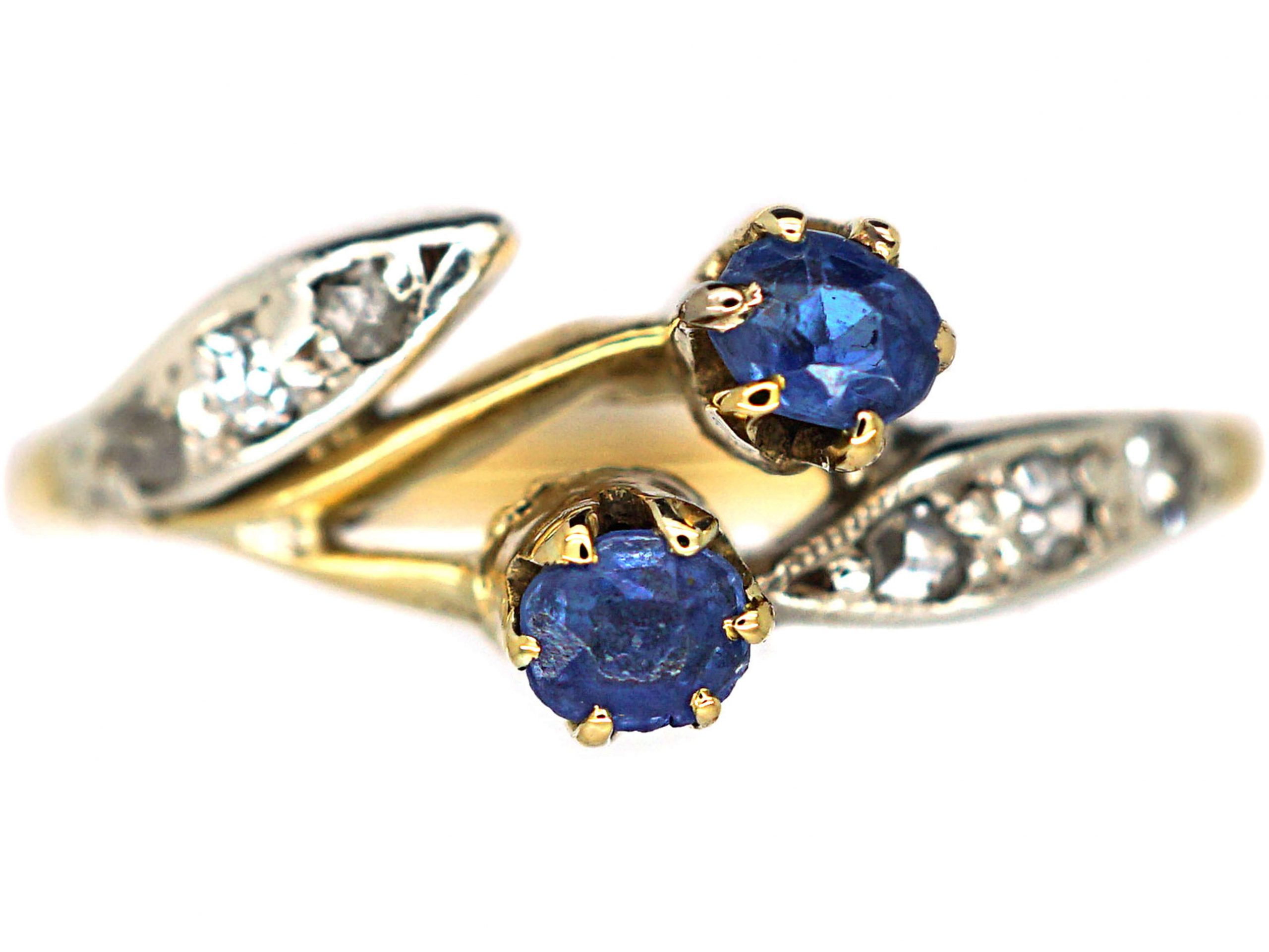 Art Nouveau 18ct Gold & Platinum, Sapphire & Diamond Ring
