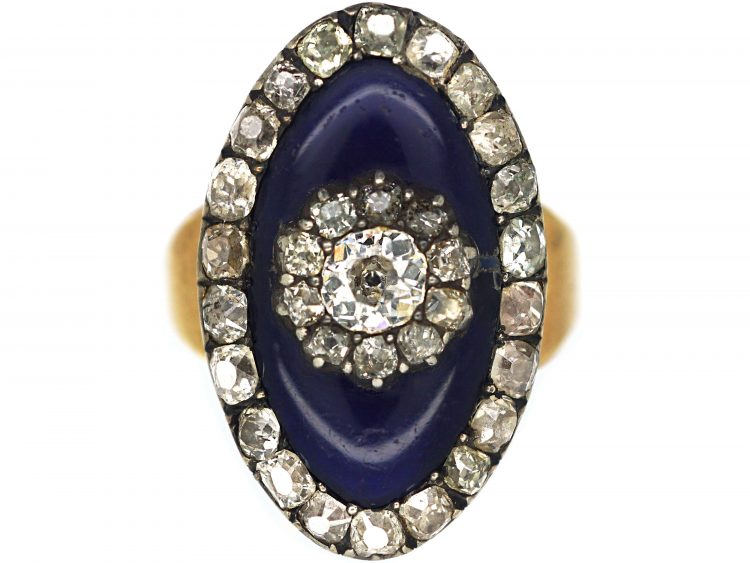 Georgian Gold, Blue Glass & Old Mine Cut Diamonds Bague au Firmament Ring