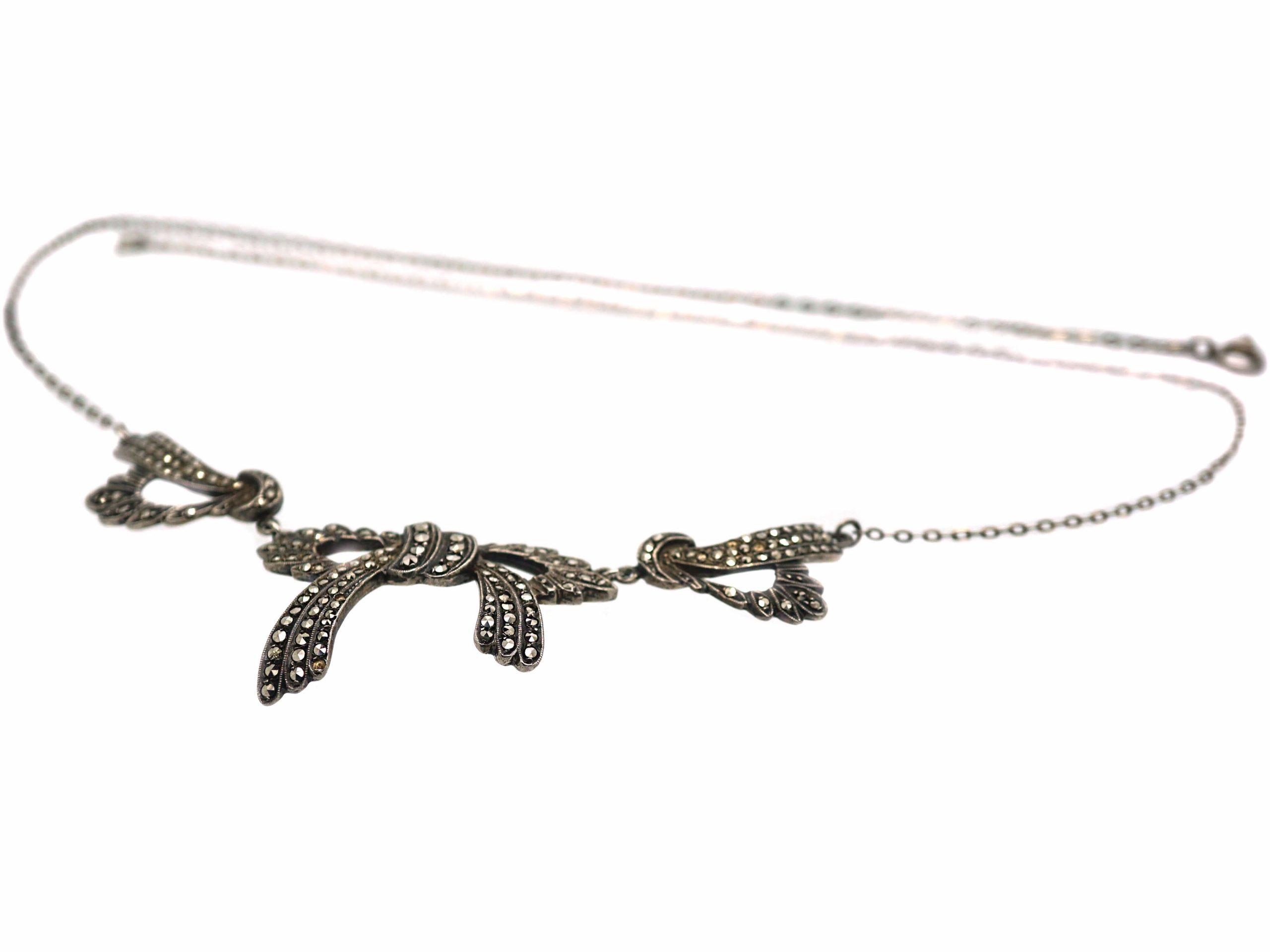 Art Deco Silver & Marcasite Bow Necklace