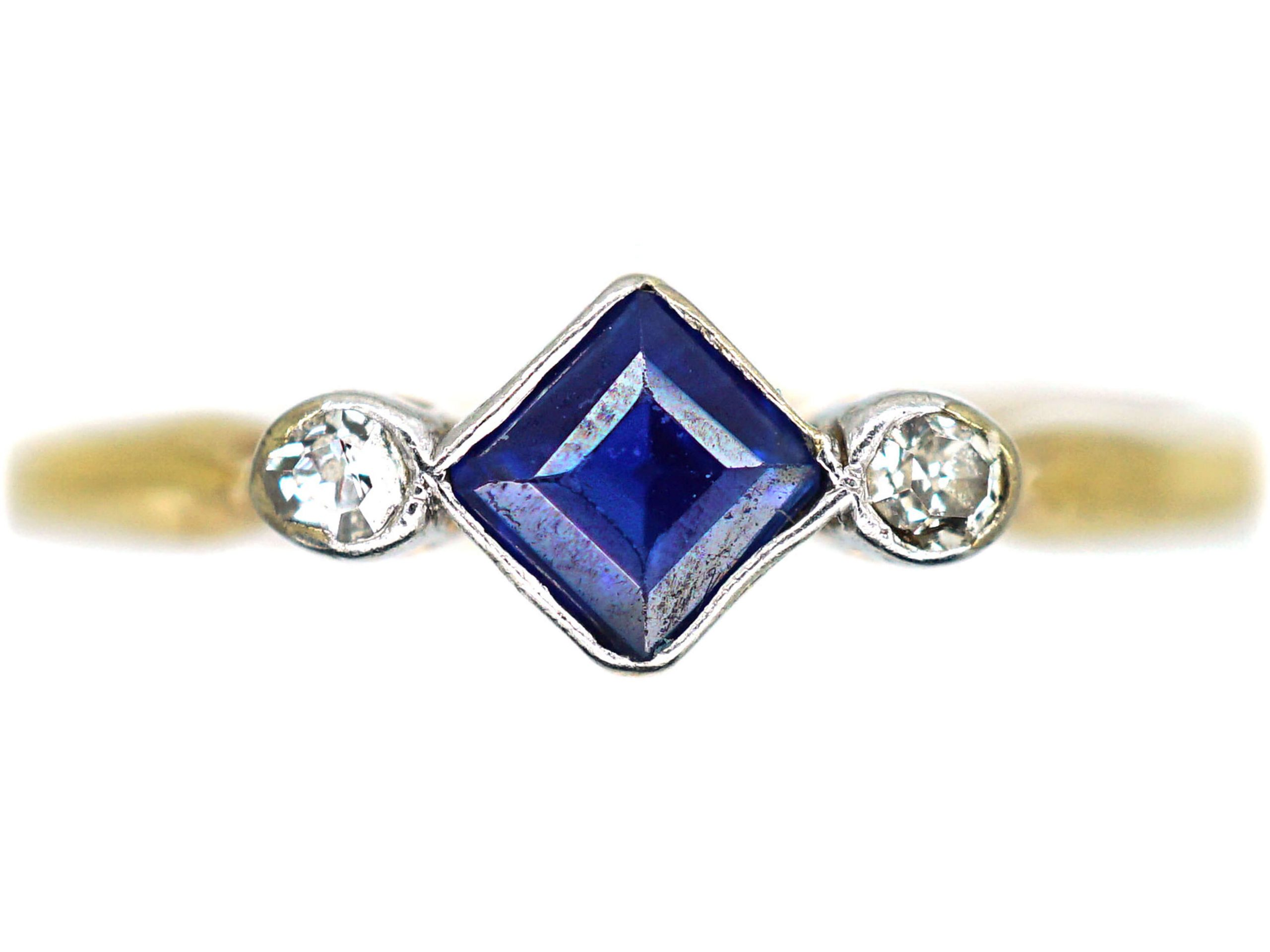 Art Deco 18ct Gold & Platinum, Sapphire & Diamond Ring