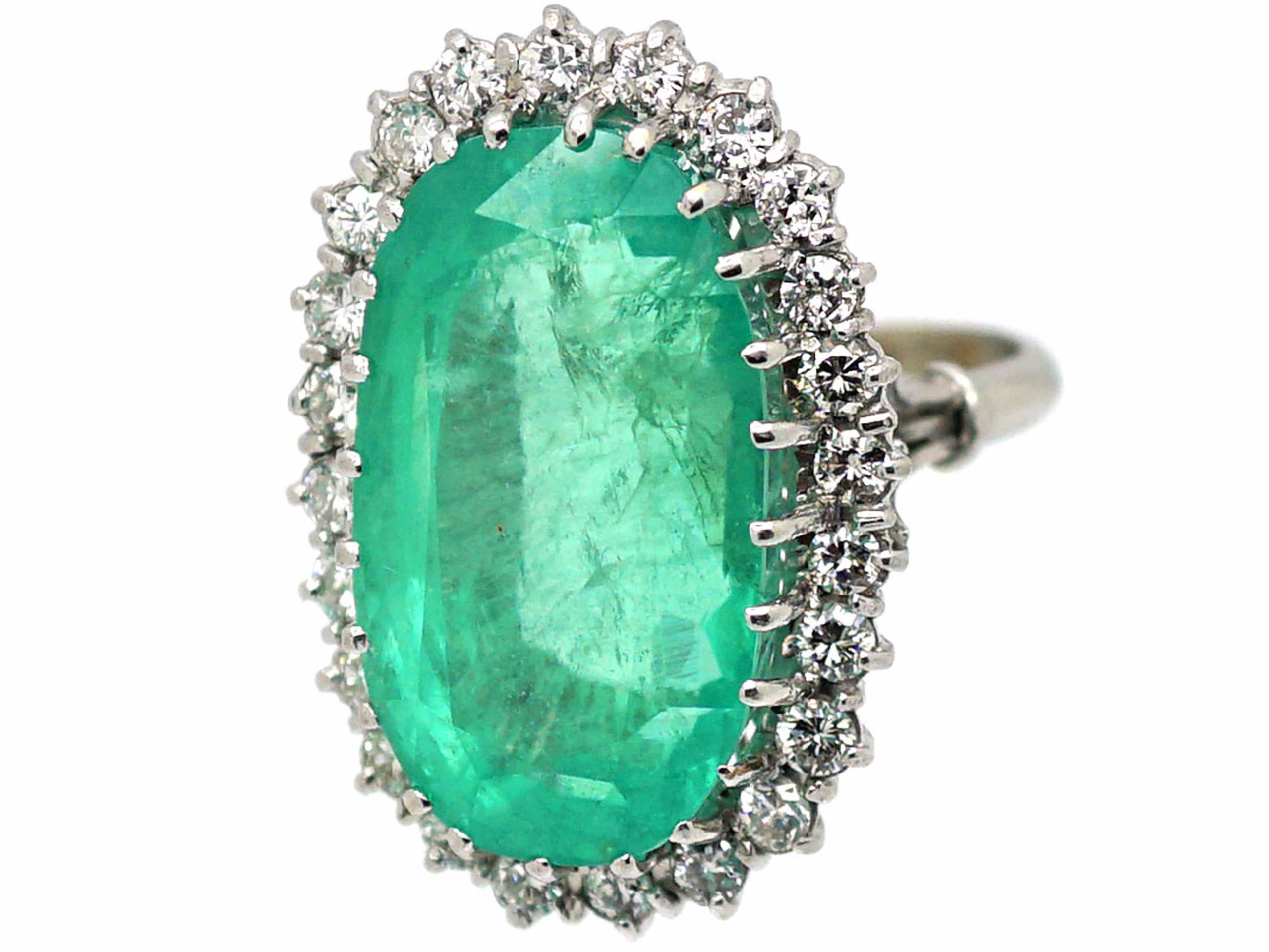 18ct White Gold Large Emerald & Diamond Cluster Ring