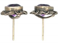 Arts & Crafts Silver & Amethyst Earrings Attributed to Bernard Instone