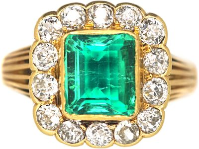 Victorian 15ct Gold, Emerald & Diamond Rectangular Cluster Ring