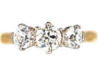Art Deco 18ct Gold Three Stone Diamond Ring