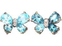 18ct White Gold, Aquamarine & Diamond Butterfly Earrings