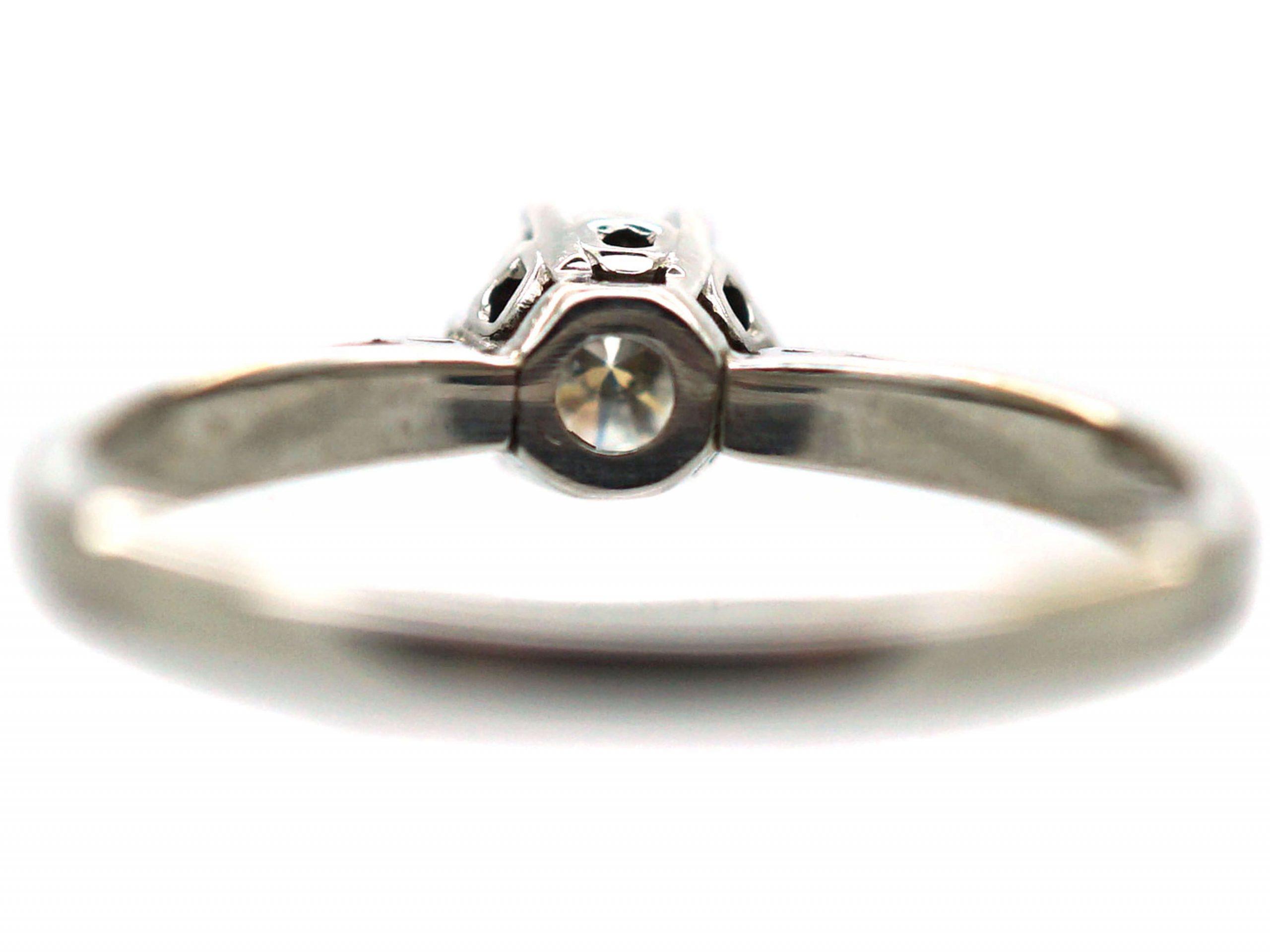 Art Deco 18ct White Gold Diamond Solitaire Ring