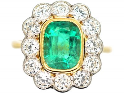18ct Gold & Platinum, Emerald & Diamond Cluster Ring