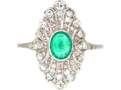 Edwardian Platinum, Cabochon Emerald & Diamond Feathered Ring