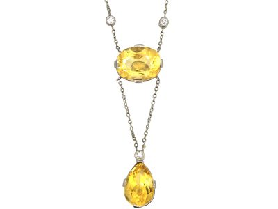 Edwardian 18ct White Gold, Citrine & Diamond Pendant on 18ct White Gold Chain