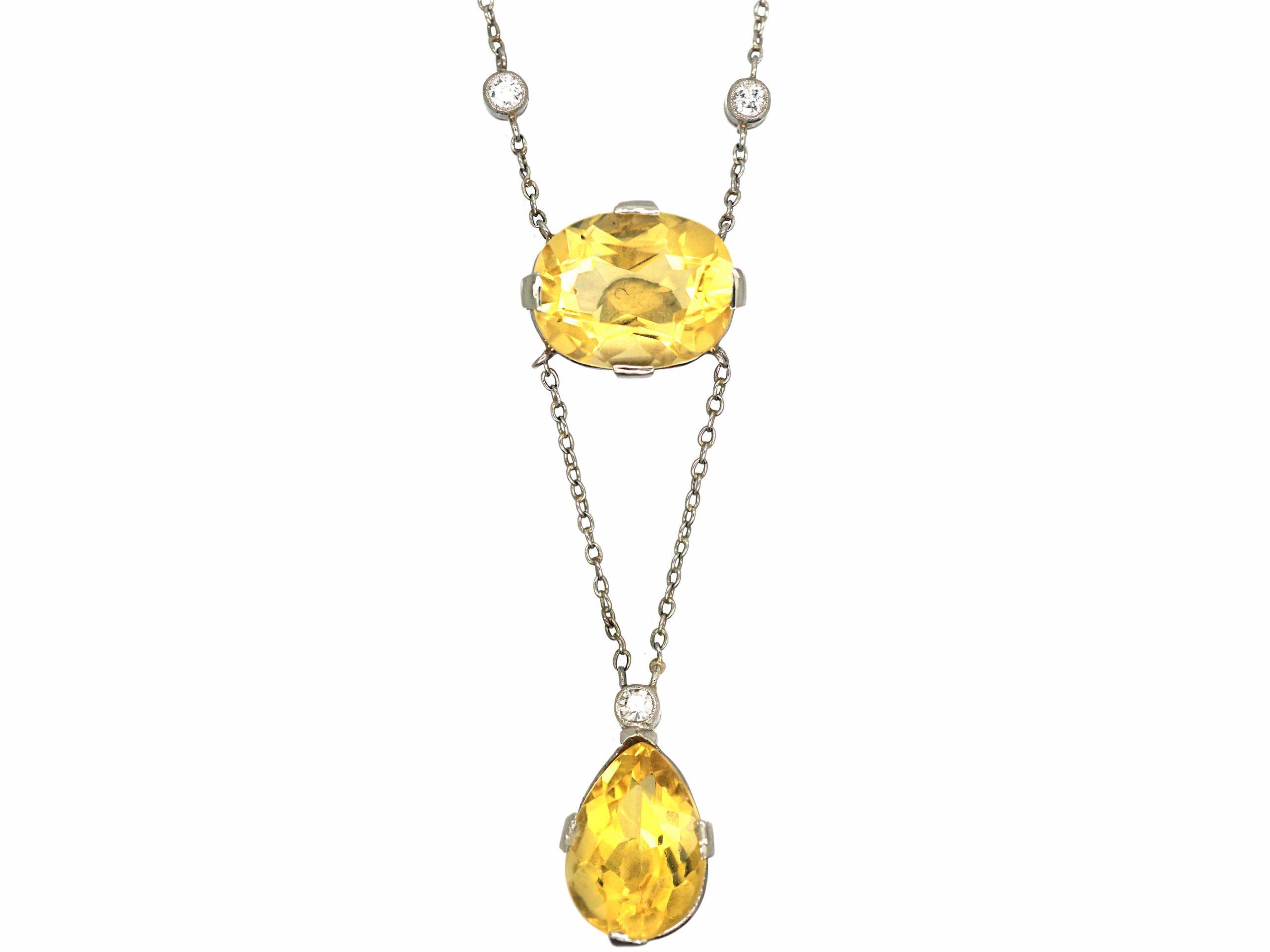 Edwardian 18ct White Gold, Citrine & Diamond Pendant on 18ct White Gold Chain