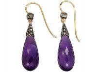 Edwardian Amethyst & Diamond Drop Earrings