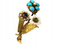 Regency 15ct Gold Flower Spray Brooch set with Turquoise, White Coral, Natural Split Pearl, Amethyst & an Emerald