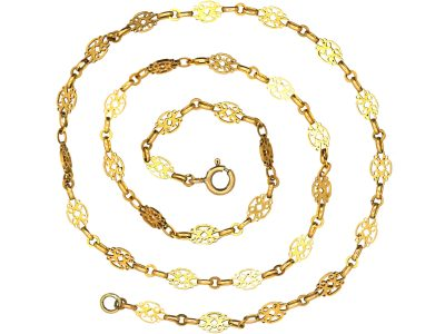French 18ct Gold Chain with Pierced Decorative Links