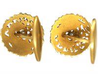 French Art Nouveau 18ct Gold & Diamond Griffin Cufflinks