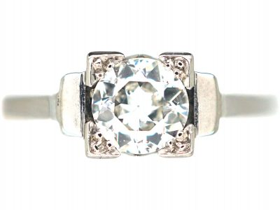 Art Deco Platinum, Diamond Solitaire Ring