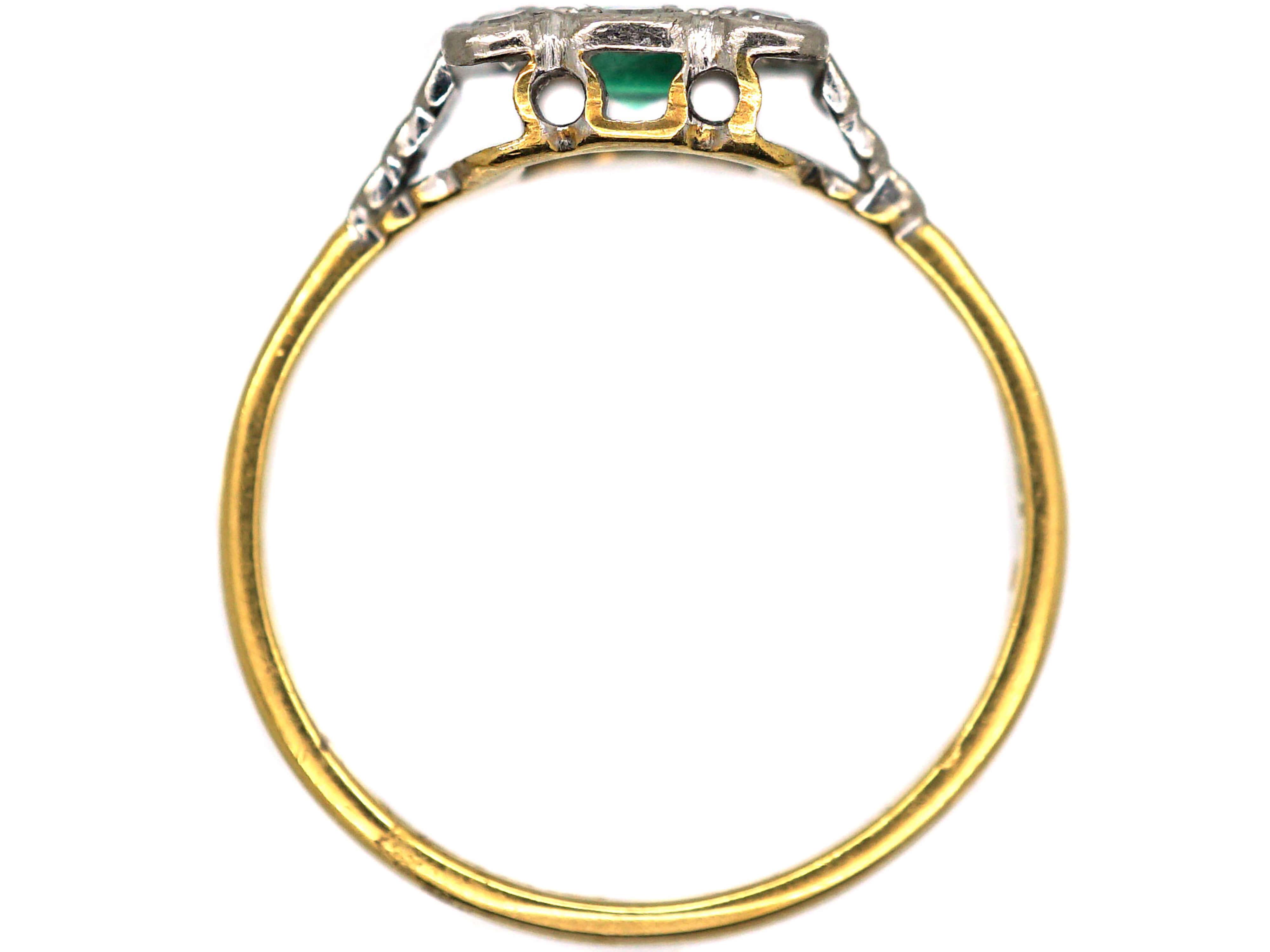 Art Deco 18ct & Platinum, Emerald & Diamond Square Shaped Ring