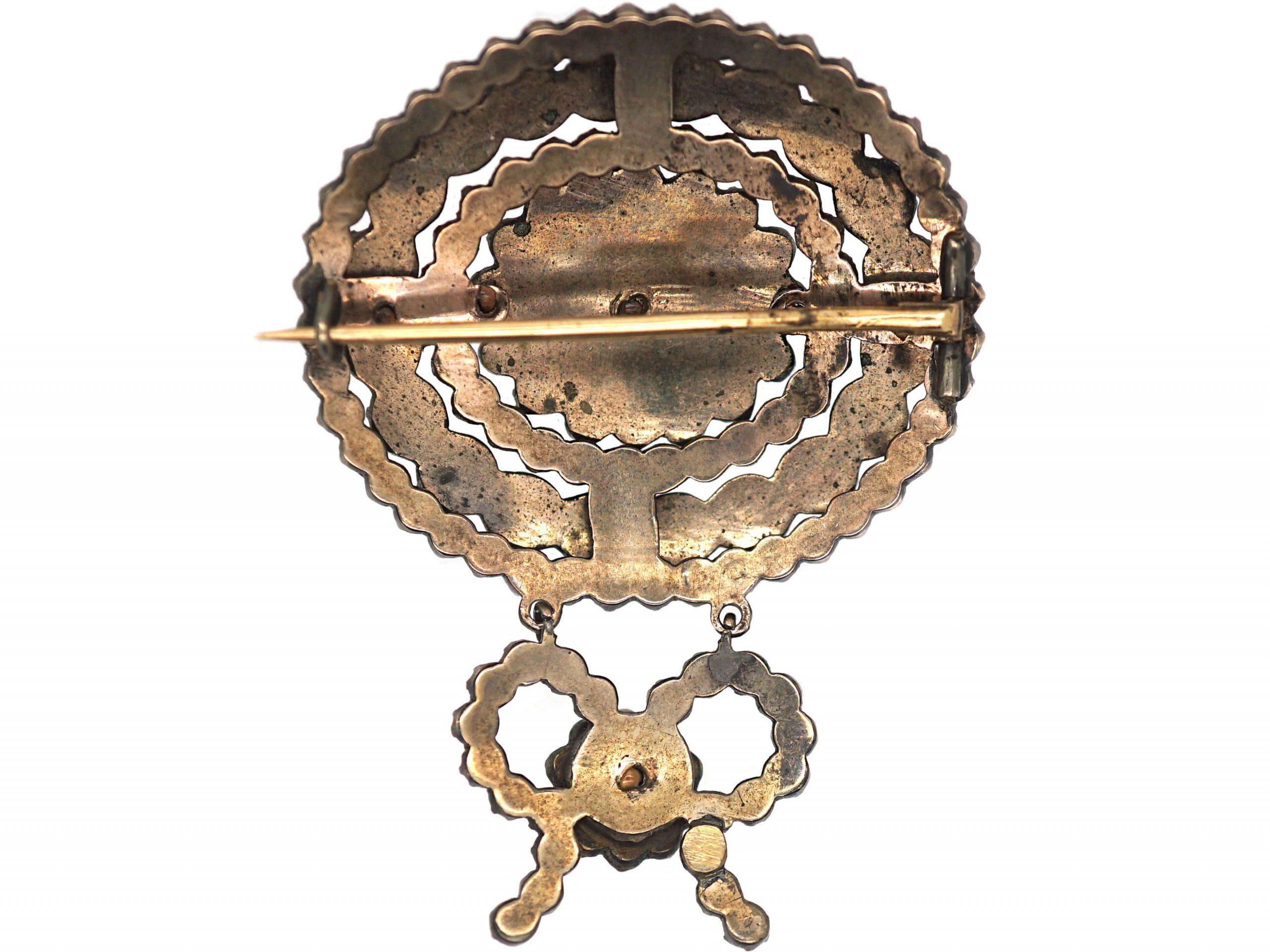 19th Century Bohemian Garnet Bow Brooch