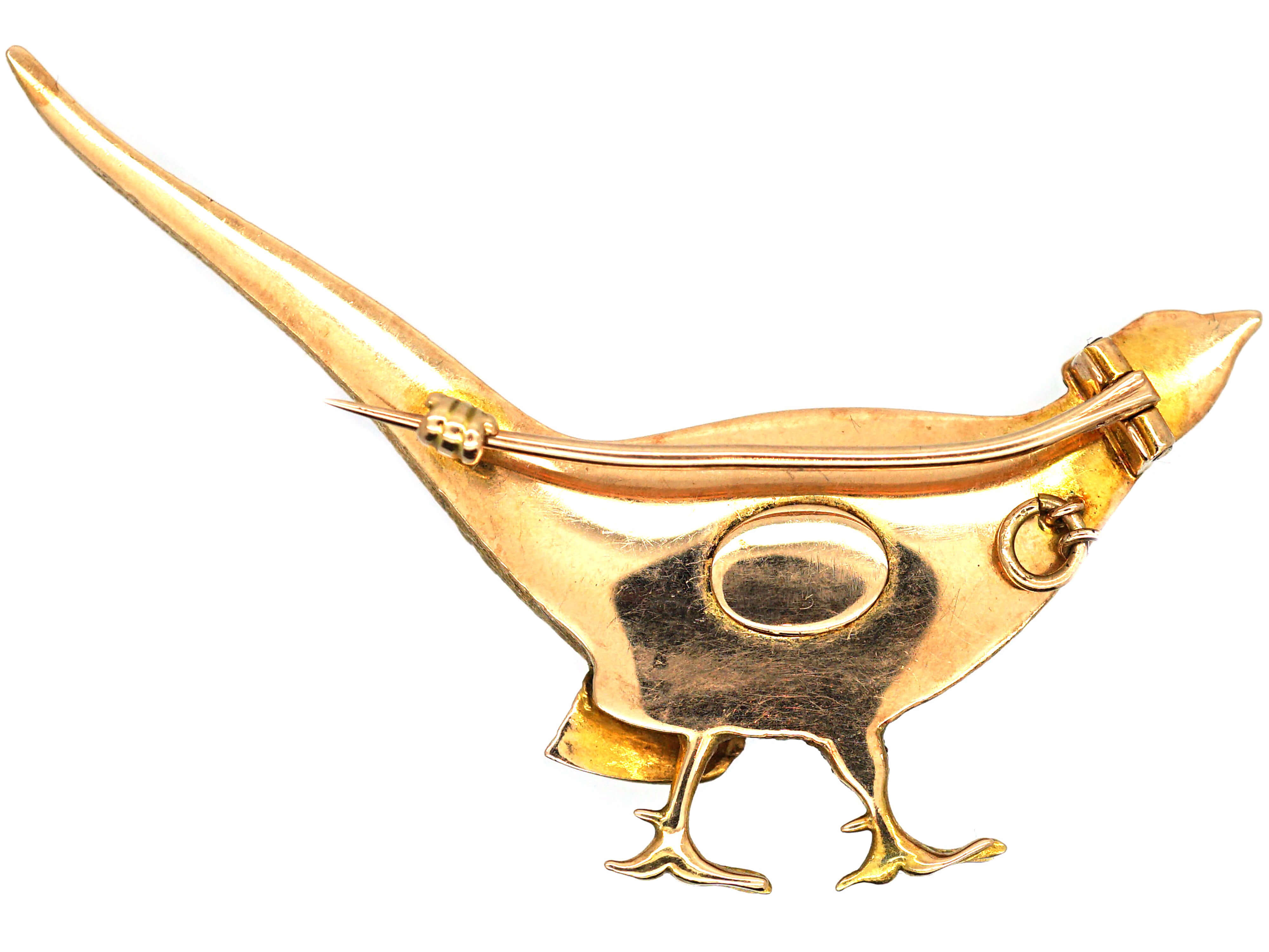 Edwardian 15ct Three Colour Gold Pheasant Brooch with Enamel Head