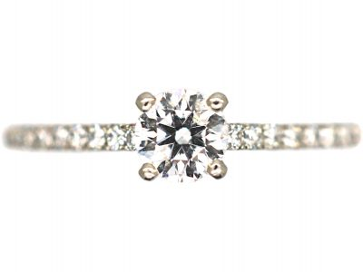 Platinum & Diamond Solitaire Ring with Diamond Set Shoulders by De Beers
