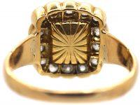 Victorian 15ct Gold, Emerald & Diamond Rectangular Cluster Ring