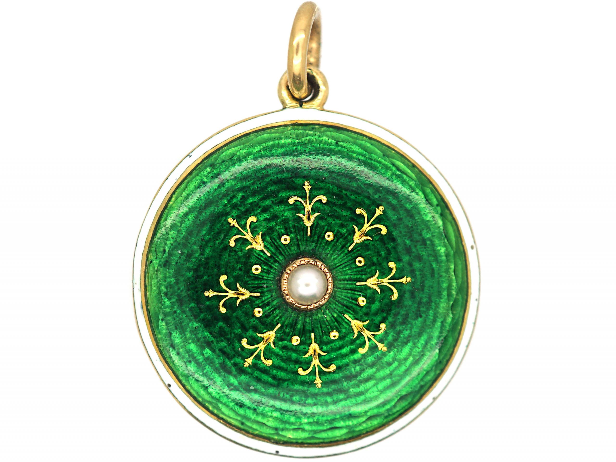 Edwardian 18ct Gold Green & White Enamel Round Locket with Natural Split Pearl in the Centre