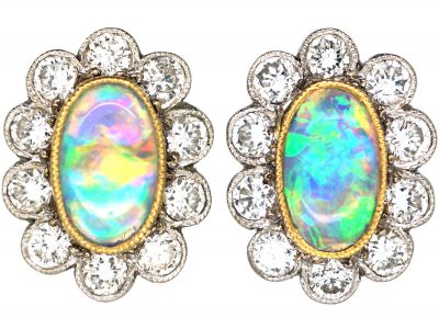 Edwardian 18ct Gold & Platinum, Opal & Diamond Oval Cluster Earrings