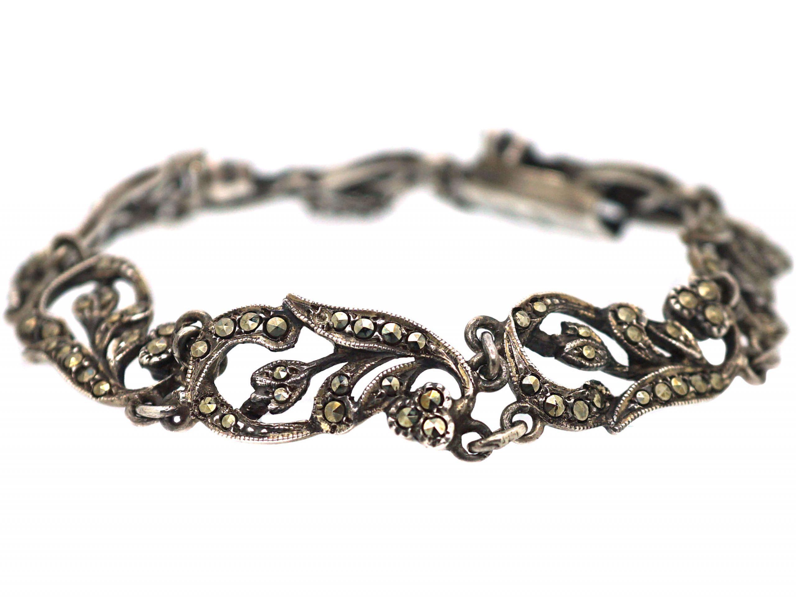 Art Deco Silver & Marcasite Floral Design Bracelet