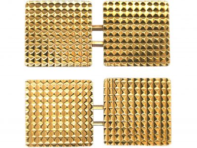 9ct Gold Hobnail Design Square Cufflinks