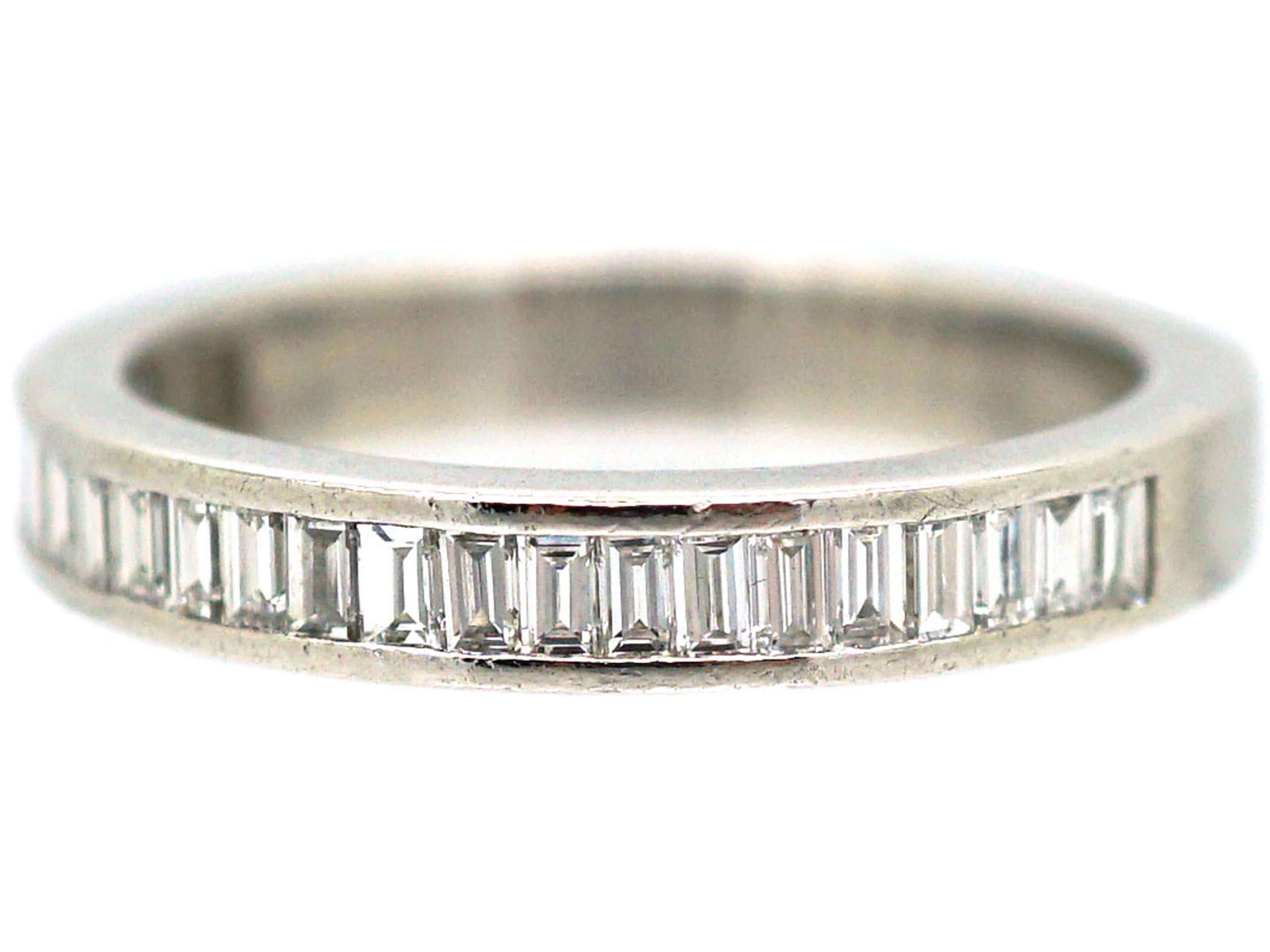 18ct White Gold & Baguette Diamond Half Eternity Ring