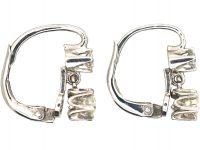 Art Deco 18ct White Gold, Two Stone Diamond Drop Earrings