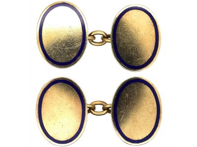 9ct Gold Oval Cufflinks With Royal Blue Enamel Border