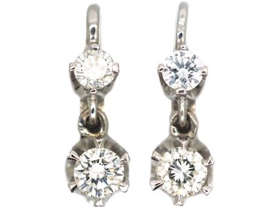 Art Deco 18ct White Gold, Two Stone Diamond Drop Earrings