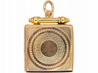 Edwardian 9ct Gold Back & Front Square Locket with Engine Turned Detail