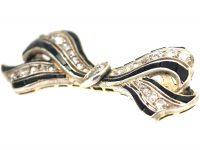 Art Deco 18ct Gold & Platinum, Onyx & Diamond Bow Brooch