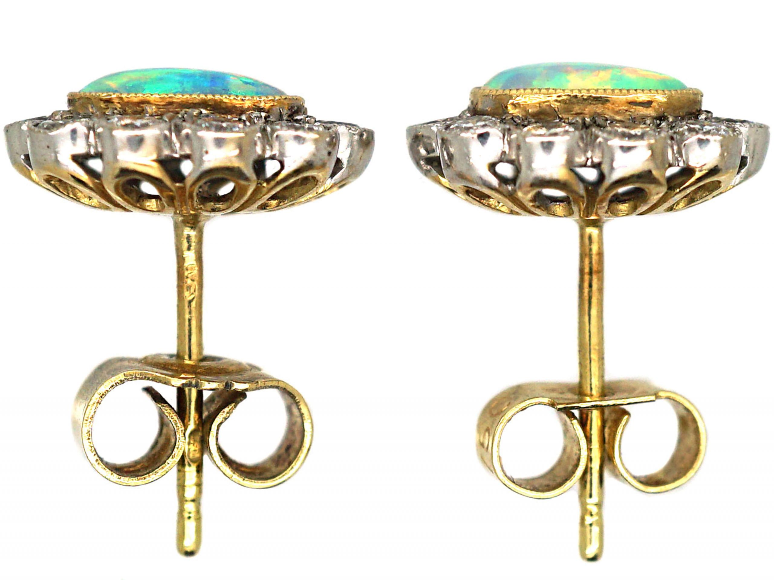 Edwardian 18ct Gold & Platinum, Opal & Diamond Oval Cluster Earrings