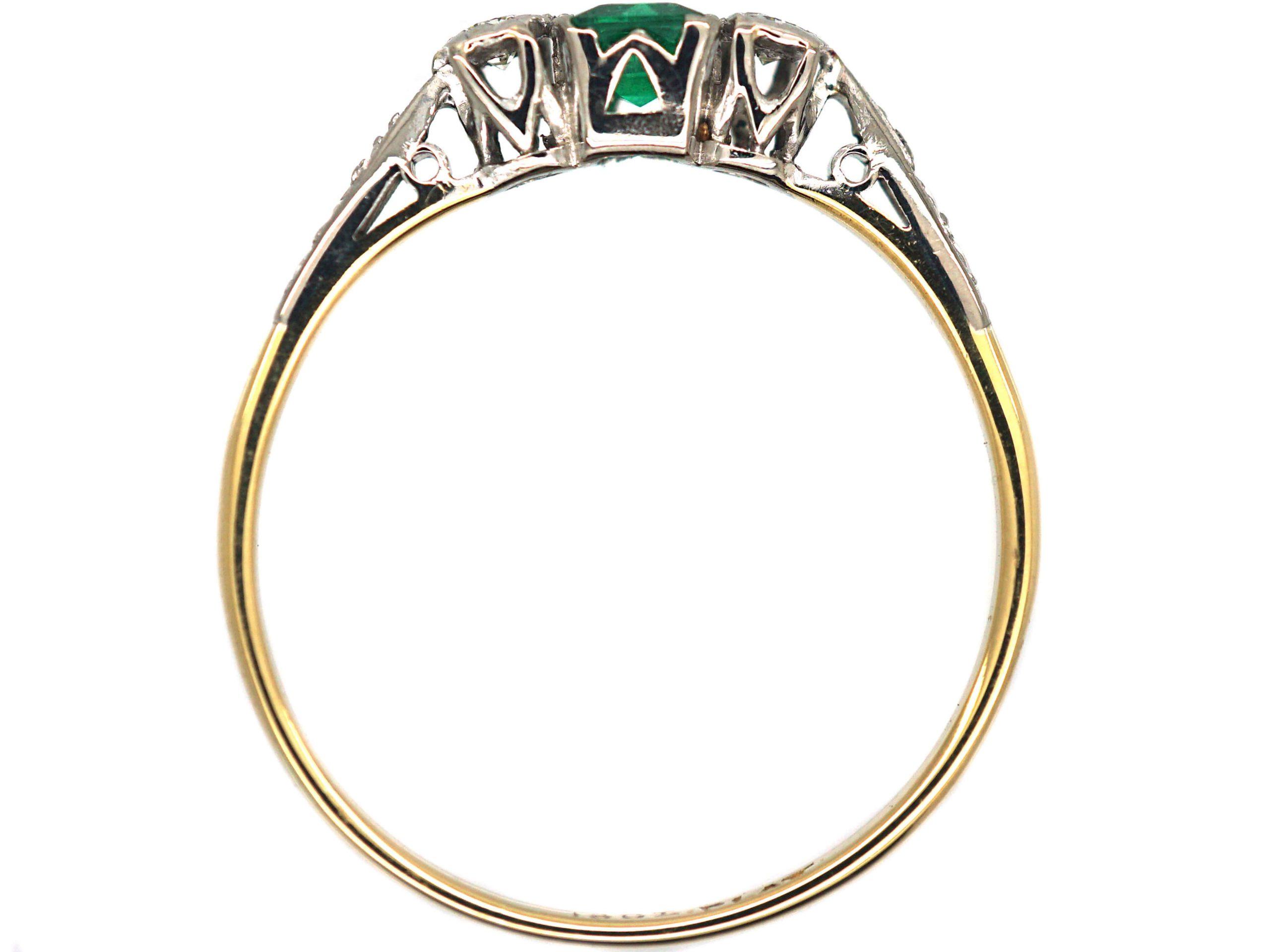 Art Deco 18ct Gold & Platinum, Three Stone Emerald & Diamond Ring