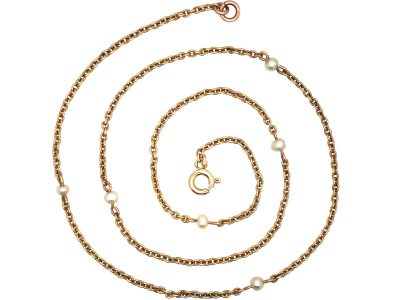 Edwardian 15ct Gold & Natural Pearl Chain with 9ct Gold Clasp
